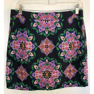 J. Crew Printed Basket Weave Mini Skirt Floral